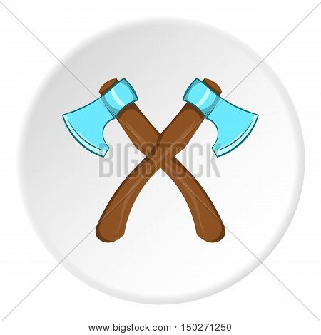 Two axes icon in cartoon style isolated on white circle background. Combat weapon symbol vector illustration