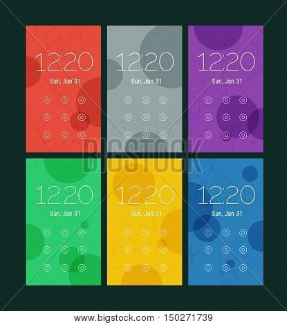 Trendy mobile smartphone UI kit, abstract bright geometric backgrounds. Lock pattern screens