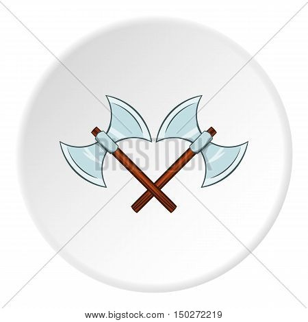 Battle axes with two tips icon in cartoon style isolated on white circle background. Combat weapon symbol vector illustration