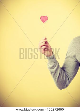 Person Holding Heart On Stick.