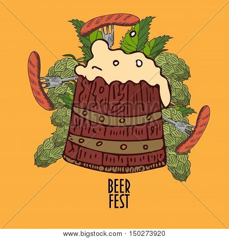 Beer Fest Illustration. Beer Barrel with frothy foam, three forks with sausages, hops cones and leaves. Great as Beer Festival Promotion.