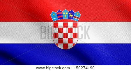 Croatian national official flag. Patriotic symbol banner element background. Accurate dimensions. Correct size colors. Flag of Croatia waving in the wind with detailed fabric texture, 3d illustration