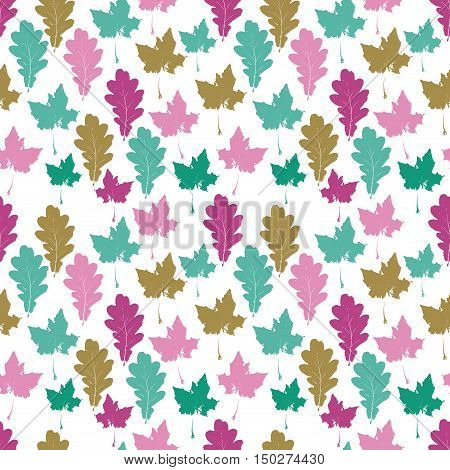 Floral autumn seamless pattern with colorful maple oak tree leaves in white. Maple and oak leaves background. Pattern with foliage petals for wrapping paper textile card web. Vector illustration.