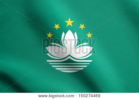 Macanese official flag. Patriotic chinese symbol banner element background. Macau is special region of PRC. Flag of Macau waving in the wind with detailed fabric texture, 3d illustration