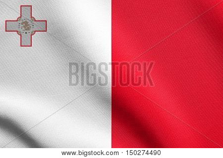 Maltese national official flag. Patriotic symbol banner element background. Accurate dimensions. Correct size colors. Flag of Malta waving in the wind with detailed fabric texture, 3d illustration