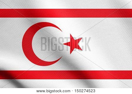 Northern Cyprus national official flag. TRNC patriotic symbol banner element background. Correct size colors. Flag of Turkish Republic of Northern Cyprus waving in the wind detailed fabric texture, 3d illustration