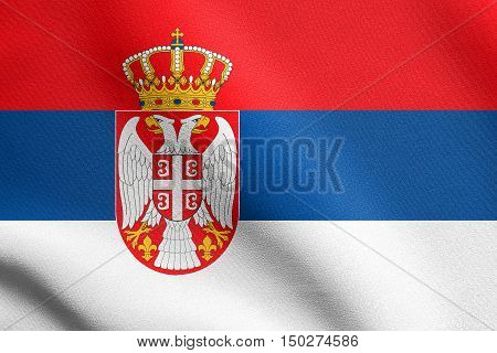 Serbian national official flag. Patriotic symbol banner element background. Accurate dimensions. Correct size colors. Flag of Serbia waving in the wind with detailed fabric texture, 3d illustration