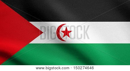 Sahrawi national official flag. Western Sahara patriotic symbol. SADR banner element background. Correct size colors. Flag of Sahrawi Arab Democratic Republic waving in wind detailed fabric texture, 3d illustration