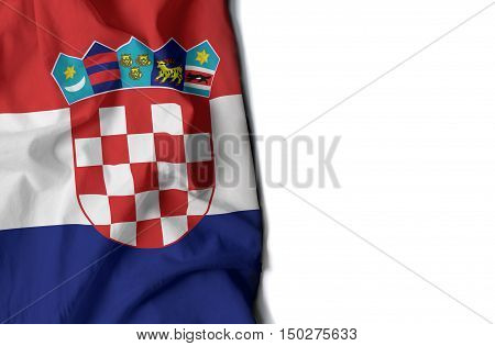 Croatia Wrinkled Flag, Space For Text
