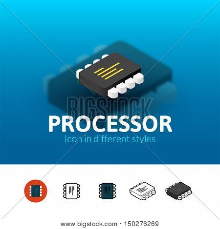 Processor color icon, vector symbol in flat, outline and isometric style isolated on blur background