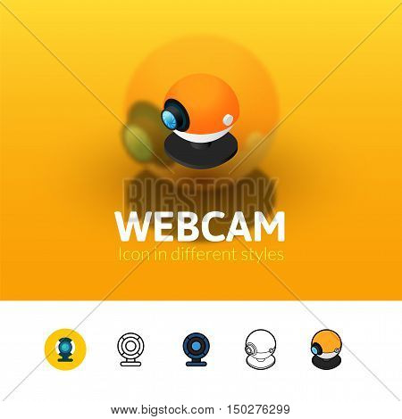 Webcam color icon, vector symbol in flat, outline and isometric style isolated on blur background