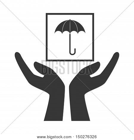 hands with keep dry package icon silhouette. vector illustration
