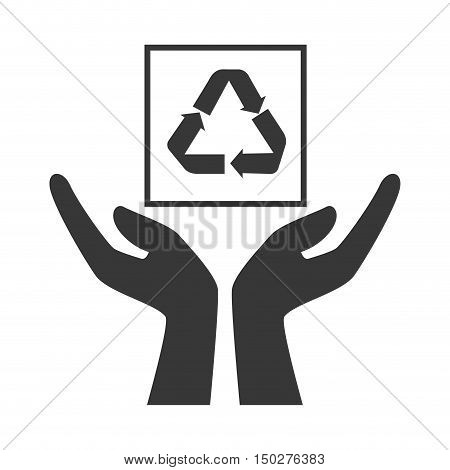 hands with recycle sign package icon silhouette. vector illustration