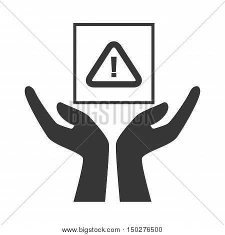 hands with warning sign package icon silhouette. vector illustration