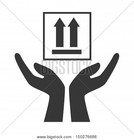 hands with top arrows package icon silhouette. vector illustration