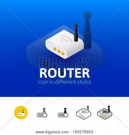 Router color icon, vector symbol in flat, outline and isometric style isolated on blur background