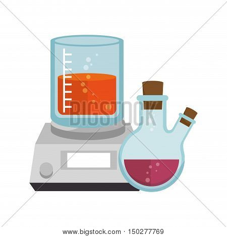 beaker chemical laboratory glass with flask bottle. vector illustration