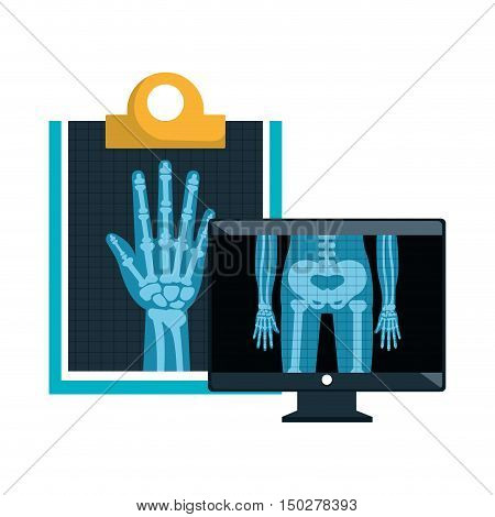 monitor computer with X ray digital medical healthcare radiology. vector illustration