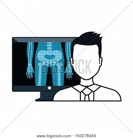 X ray digital medical healthcare radiology and avatar man doctor. vector illustration
