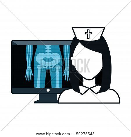 X ray digital medical healthcare radiology and avatar woman nurse. vector illustration