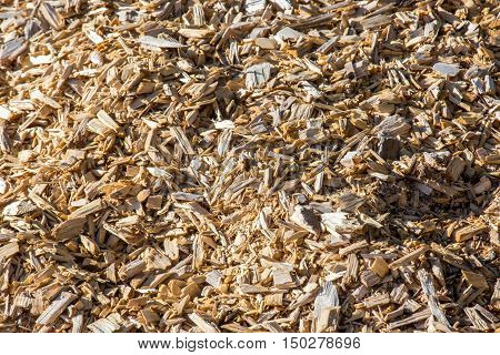 closeup Wood chips for a biomass combustion