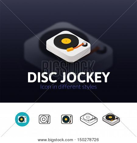 Disc Jockey color icon, vector symbol in flat, outline and isometric style isolated on blur background