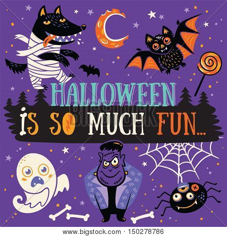Funny Halloween Poster or Greeting card with cartoon wolf, mummy, ghost, bat and spider. Purple background.