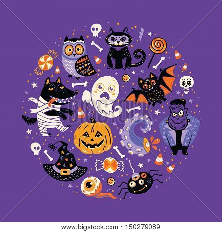 Halloween Poster or Greeting card with cartoon characters in a circular frame. Purple background.