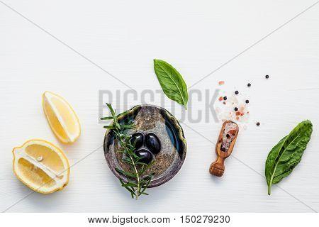Sweet Basil Vinaigrette Dressing Ingredients On White Wooden Background With Flat Lay  Fresh Sweet B