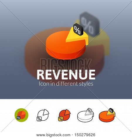 Revenue color icon, vector symbol in flat, outline and isometric style isolated on blur background