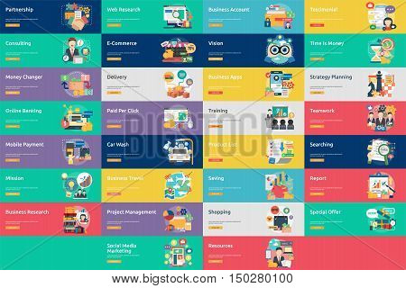 Business Concept Design | Set of great vertical banner flat design illustration concepts for business, marketing, working, idea, event and much more.