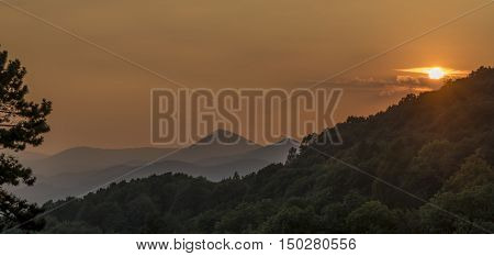 Sunset in Ceske Stredohori mountains in summer time