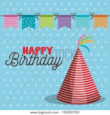 happy birthday party hat accessory. colorful design. vector illustration
