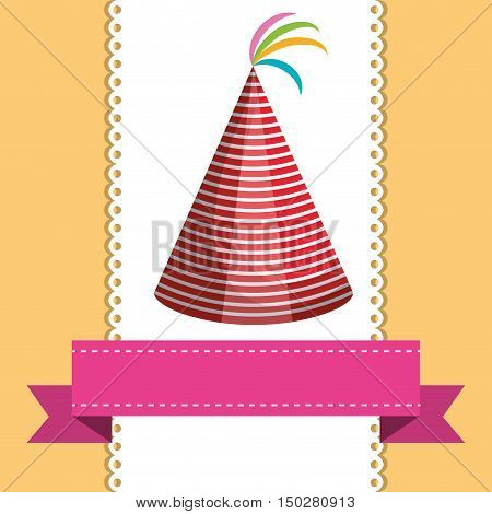 birthday party hat accessory and pink ribbon decoration. colorful design. vector illustration