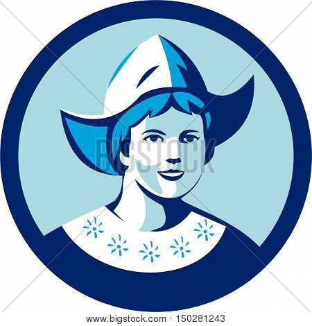 Illustration of a Dutch lady wearing traditional dutch cap or dutch bonnet that resemble a nurse's hat facing front set inside circle done in retro style.