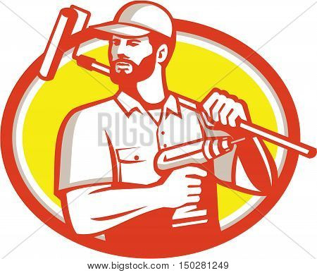Illustration of a handyman with beard moustache facial hair holding paint roller on shoulder and cordless drill looking to the side set inside oval shape on isolated background done in retro style.