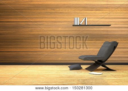 3D rendering : illustration of interior wooden room with modern chair furniture and the pillow on the wooden floor,book on a shelf