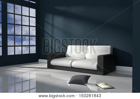 3D Rendering : illustration of interior room of dark blue minimalism style with modern black and white leather sofa furniture at the middle of room on shiny floor,sun light and shadow,Blue sky at outdoor
