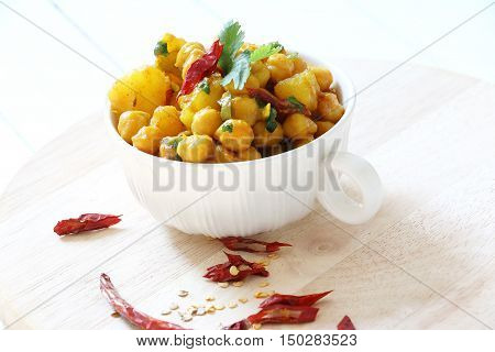 Indian,Pakistani,Nepali cuisine. Spicy chickpeas curry with potato