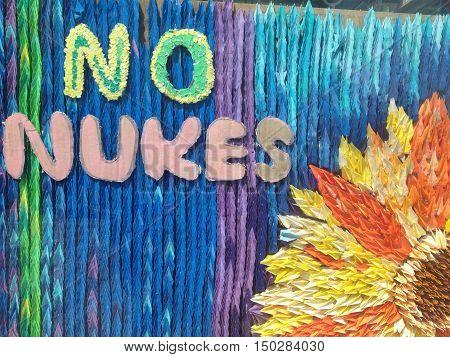 No Nuke art sign  at Hiroshima Japan