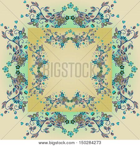 Decorative floral ornament. Detailed frame. Bandana print. or kerchief pattern design. Vector illustration.