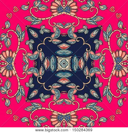 Ceramic tile. Decorative floral ornament. Bandana print or silk neck scarf. Vector illustration.