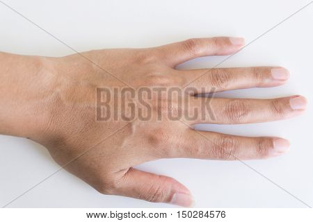 Woman back hand with blood veins on white blackground.