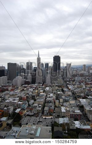 San Fransisco Skyline viewed from Coit Tower, San Fransisco, California, USA