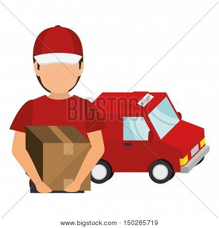 avatar man holding a box with  fast delivery  red van vehicle. colorful design. vector illustration