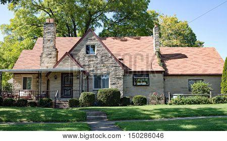 Tan Limestone House