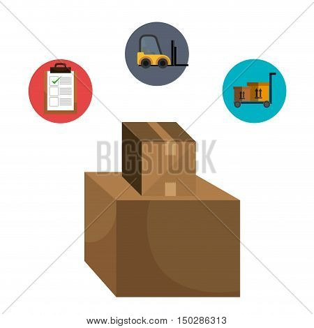 carton box and fast delivery icon set. colorful design. vector illustration