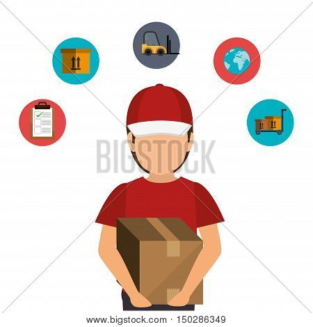 avatar man with fast delivery icon set. colorful design. vector illustration