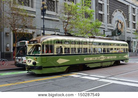 SAN FRANCISCO - MARCH 14: F-line Antique PCC streetcar No.1078 San Diego in the Financial District on March 14th, 2014 in San Francisco, California, USA.