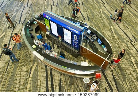 Singapore - June 28 2016: UOB Bank currency exchange booth at Changi International airport Singapore